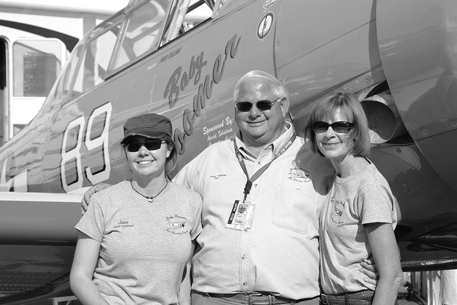 Fred Telling, with his daughter Jennifer (left) and wife Barbara (right), in front of Baby Boomer.